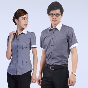 2014男女短袖衬衣搭配时尚拼接领职业正装商务免烫衬衫