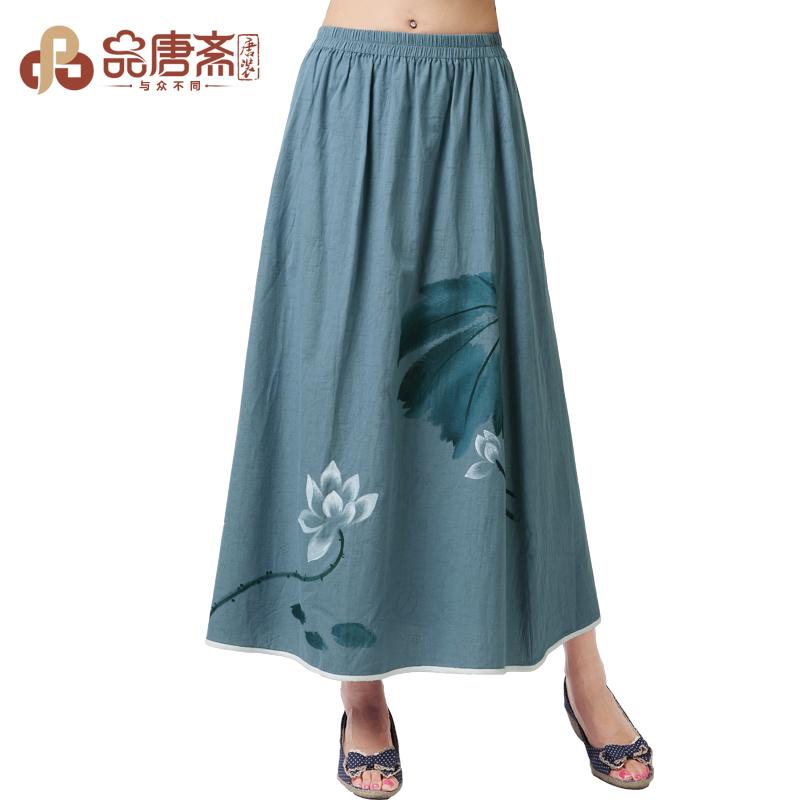 品唐斋原创女士裙子 秋冬半身裙女式 棉麻 复古显瘦中长长裙半裙