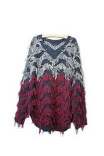2012 ugly ugly foreign trade wind in Europe and wool tassels bat sleeve v neck relaxed code Korean ladies ' spring and Autumn Sweater