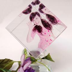 水晶魔方旋转立方体定制作照片摆件创意水晶工艺品七夕送朋友