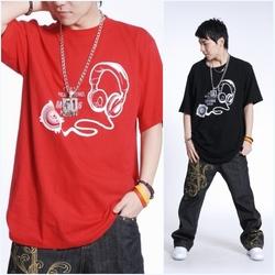 潮男t恤嘻哈T恤印花耳麥加肥加大碼全棉圓領短袖T恤男T恤ty51