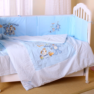 Belopo bei Baby Blue Dog bedding four piece baby bed surrounding cotton baby bedding