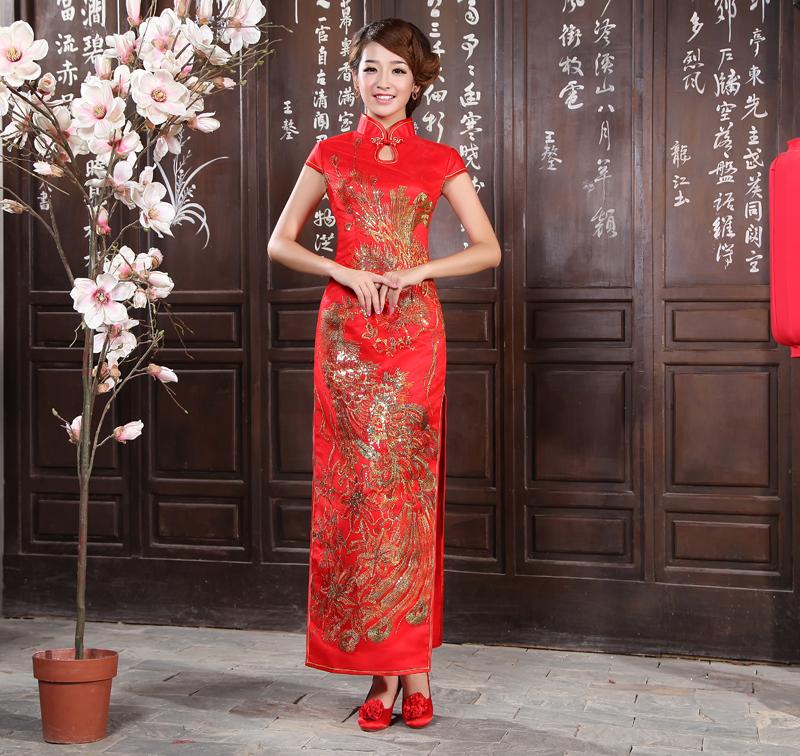 新款大红色长款短袖圆襟旗袍裙 新娘结婚敬酒礼服旗袍 金凤凰刺绣