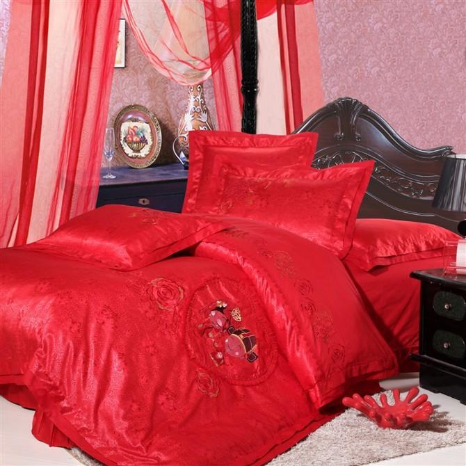 优尚家纺 家纺正品仿真丝婚庆六件套大红 婚庆床品套件 特价