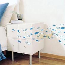 5折秒杀 飞彩墙贴^_^ 好大一群鱼 浴室衣柜卧室背景墙贴3016