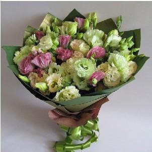 粉色香槟色绿色桔梗花圆形手捧花束成都鲜花派送花店情人节鲜花