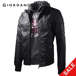 Special temperament tide seconds to kill  Giordano men's jacket in  summer men and imitation leather jacket 01072003