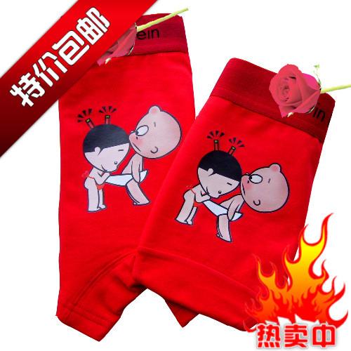 Трусы Couple underwear Для пары Хлопок Боксеры Лайкра Персонажи мультфильмов U-образный дизайн Простота и естественность