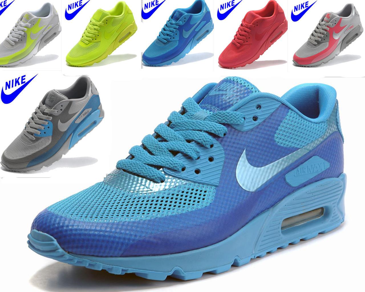 кроссовки Nike 000000 AIR MAX 90 454446-400 Сетка Летом 2012 года Унисекс Нескользящая резина
