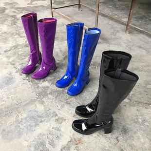 2018秋季冬季chic漆皮马丁靴女鞋粗跟高跟鞋高筒靴长靴女靴子
