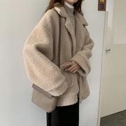 单排扣仿羊羔绒外套秋冬女2018百搭复古宽松长袖夹克衫上衣潮