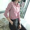 气质优雅chic早春上衣女粉色竖条纹衬衫女士衬衣长袖2019