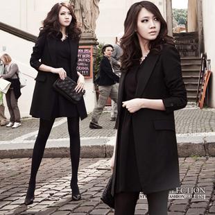 时尚小西服中长款大码女式气质西装显瘦春秋外套