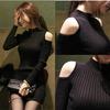 韩国秋冬显瘦露肩针织连衣裙女中长款紧身打底包臀毛衣裙加厚