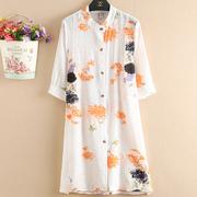 夏季开衫女 中袖大码棉麻印花防晒衫 中袖立领中长款空调衫罩衫