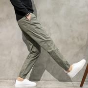 男裤子工装裤春季束脚直筒裤男宽松小脚束口收脚裤