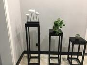 新中式花架金属雕塑台现代简约风格铁艺实木黑胡桃色花几边几