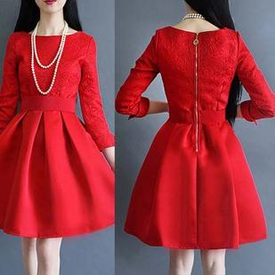 礼服短款结婚长袖蓬蓬裙大红色婚礼新娘敬酒服连衣裙回门秋冬季
