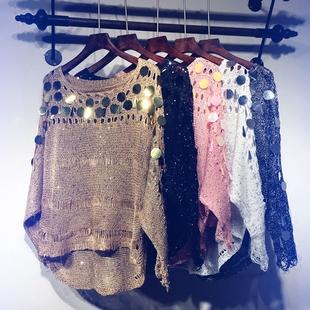 镂空针织衫女套头薄款宽松亮片夏季蝙蝠衫长袖罩衫网衫漏锁骨上衣