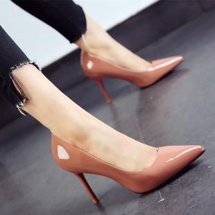 糖果色女鞋2017春秋尖头鞋漆皮简约细跟高跟鞋单鞋女黑色