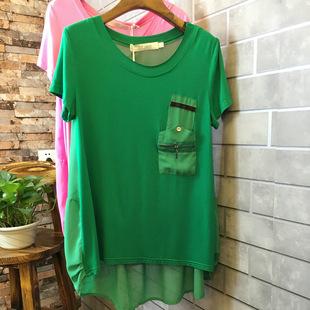 2014夏装 欧美雪纺拼接莫代尔 前短后长宽松大版短袖女式t恤