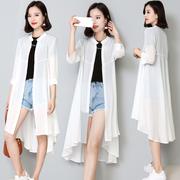 中长款雪纺开衫防晒衣女2018夏季宽松薄款外套空调衫外搭披肩