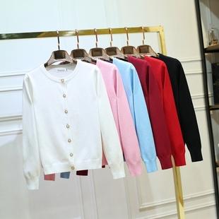 秋季针织衫女长袖圆领显瘦短款厚款大码厚毛衣开衫外套