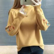 2018秋冬短款毛衣女套头女装宽松加绒加厚针织衫打底衫潮