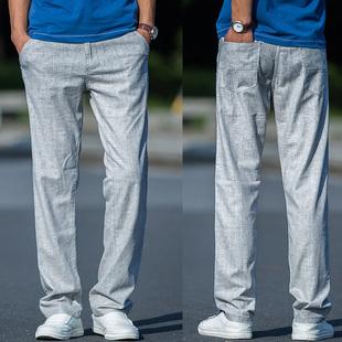 夏季薄款亚麻裤男宽松长裤 加大码裤青年直筒男裤 舒适棉麻裤