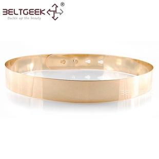 BELTGEEK-配饰卡式全金属腰带女士装饰金色礼服腰封女款皮带细