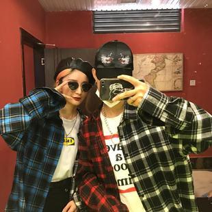 韩国INS原宿BF风嘻哈百搭复古撞色格子宽松衬衫男女情侣衬衣外套