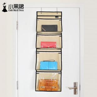 小黑裙门后墙壁布艺挂包袋小包包收纳挂袋立体多层透明杂物储物袋