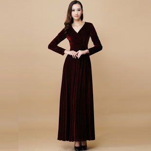 莎点秋冬女装 V领长袖连衣裙 欧美金丝绒长裙显瘦大摆裙