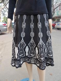 雪半身裙中裙高腰小清新棉布夏装黑白艺术长裙中年女大码裙子