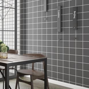 自粘墙纸北欧黑白格子卧室宿舍装饰客厅背景墙贴壁纸防水灰色贴纸
