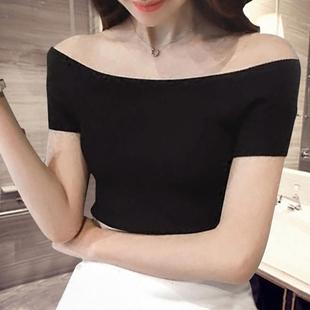 一字肩上衣夏一字领露肩打底衫棉质纯黑色短袖T恤女装潮