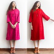 原创设计师棉麻女装品牌气质茶服高端提花中式斜襟盘扣古典连衣裙
