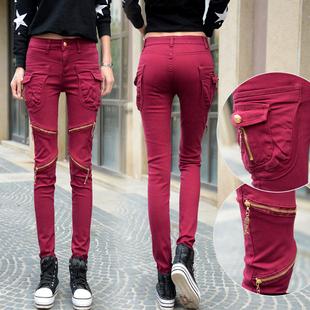 拉链大口袋哈伦裤女长裤个性bf风牛仔裤显瘦小脚铅笔裤秋