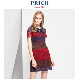 PRICH2018夏季女士短袖裙子优雅蕾丝花纹连衣裙 PROW D