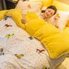A纯棉B珊瑚绒四件套女全棉加厚冬季法兰绒法莱绒被套床单1.8m床上