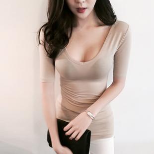 大领V领紧身裸色长袖上衣中长款低胸打底衫女士秋冬莫代尔t恤