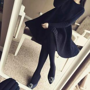 秋冬胖妹妹加大码女装毛衣打底衫女长袖上衣中长款针织连衣裙