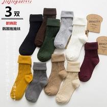 纯棉堆堆袜女韩国春秋薄款复古日系中筒时尚短靴袜纯色长筒潮袜子