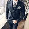 西装套男装版欧美大牌细条纹西装英伦大码男双排扣结婚小西服