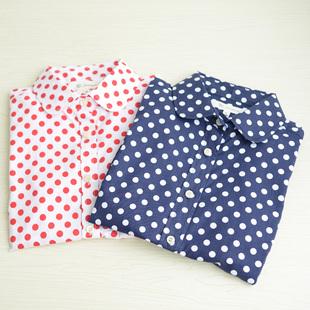 2014秋季全棉通勤淑女尖领大波点两色长袖女款衬衫