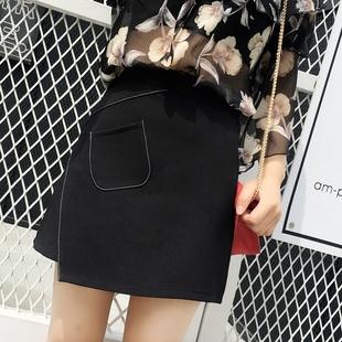 2018秋冬不规则半身裙高腰显瘦A字包臀裙女夏学生ins黑色短裙