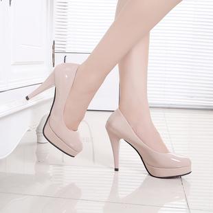春秋季圆头鞋女鞋工作鞋防水台白色皮鞋高跟鞋细跟10cm单鞋潮