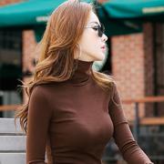黑白色加绒加厚高领打底衫女长袖秋冬季2018大码内搭上衣