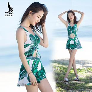 三奇女泳衣女士连体裙式平角裤泡温泉泳装