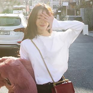 小衫女2018早春白色t恤长袖打底衫上衣服宽松百搭学生潮